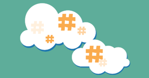 hashtags in a cloud