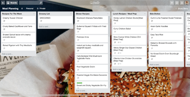 meal planning on a Trello board