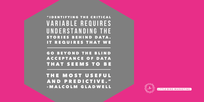 """""""Identifying the critical variable requires understanding the stories behind the data"""" - Malcolm Gladwell quote"""