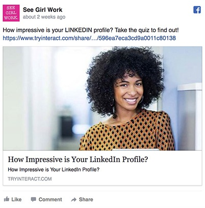 Promote your quiz as a Facebook Ad!