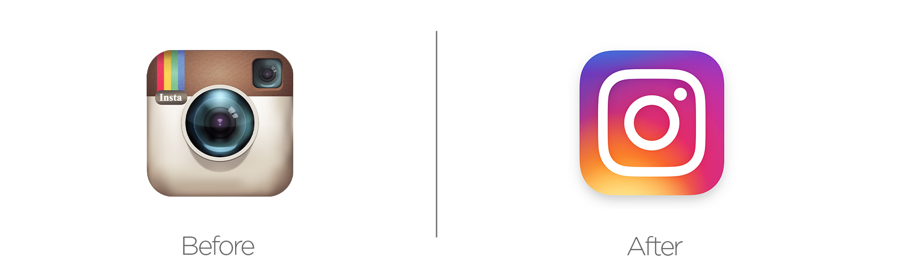 Instagram rebrand before and after