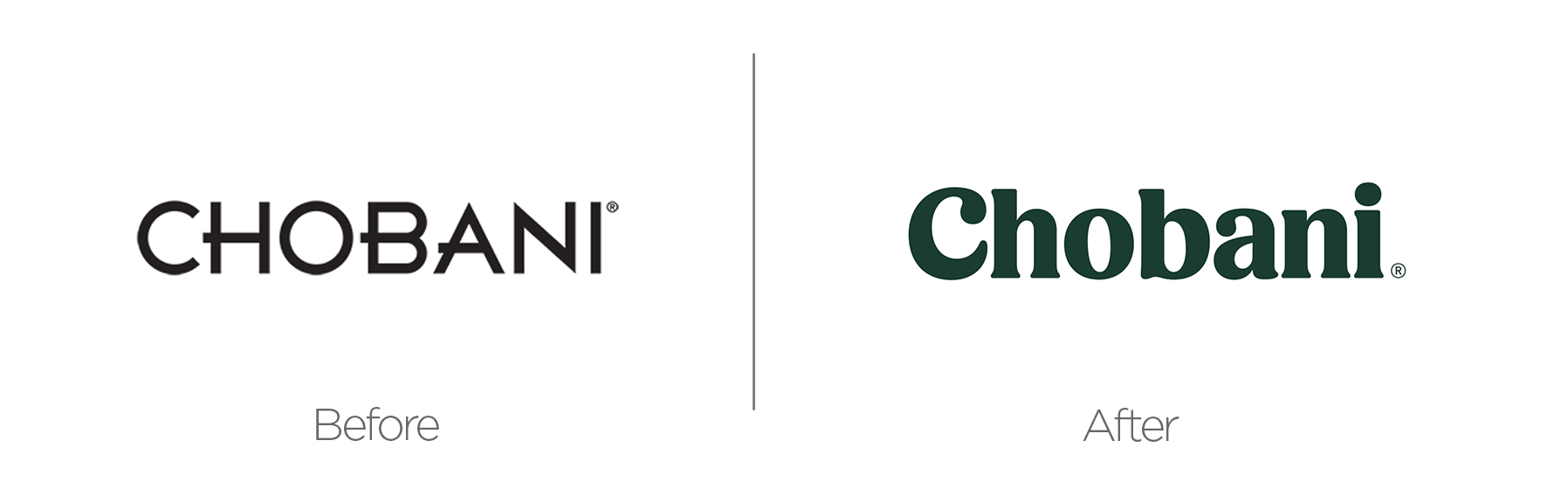 Chobani rebrand before and after