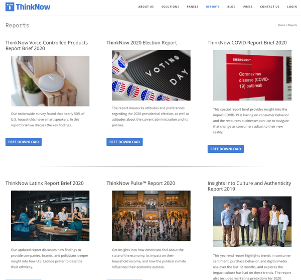 ThinkNow Reports Page