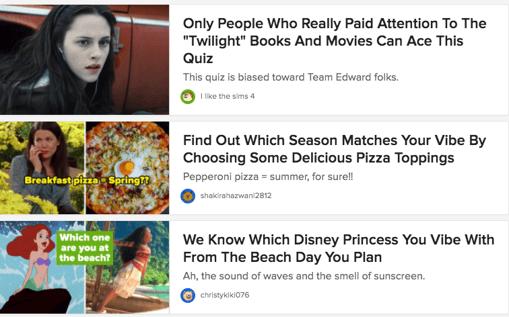 Buzzfeed Quizzes Screenshot