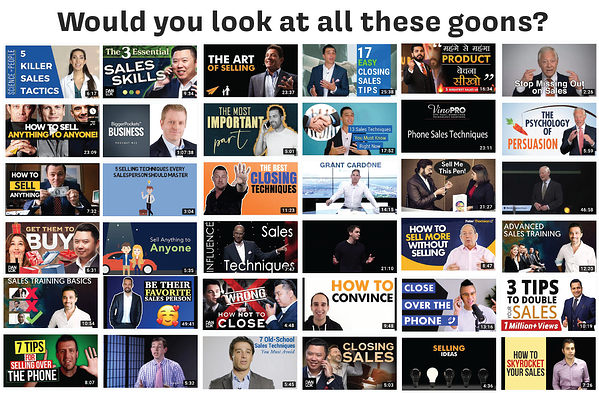 """Just 36 of the top results for a YouTube search on """"Sales."""""""
